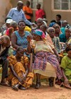 People waiting to be examined at a community eye clinic in Uganda