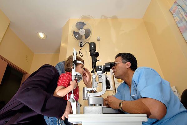 Eye examination at St John of Jerusalem Eye Hospital